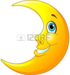 Illustratie van een gelukkige maan met een vriendelijke glimlach op zijn gezicht