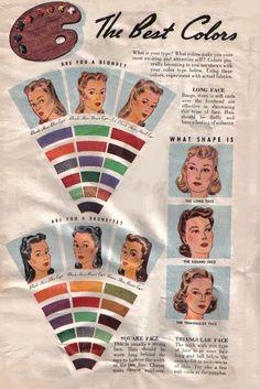 Va-Voom Vintage: 1940's Beauty: The Best Colors for Your Type (brunette)