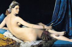 The Grand Odalisque by Ingres (Romanticism). Ingres skillfully combines classical composition and drawing techniques with exotic elements. Reclining nude pose is reminiscent of Titian, and the elongated limbs/cool color palette is influenced by Mannerism. Ingres also greatly admired Raphael, which can be seen in the face. Truly a unique combo of Ingres' classical training (he was a student of David) and his interest in the Romantic tendency for the exotic.