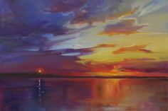 """""""Fourth of July Sunset,"""" by Holly Ready. Oil, 24"""" x 36,"""" available at Maine Art Paintings and Sculpture."""