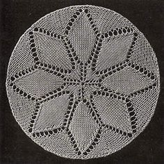 Yarn Over Lace Knitting Pattern: France - Doily A Free Doily Patterns, Knitted Dishcloth Patterns Free, Lace Knitting Stitches, Lace Knitting Patterns, Free Pattern, Lace Doilies, Crochet Doilies, Knit Crochet, Knitting Projects