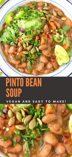 Vegan Pinto Bean Soup / Stew The best vegan pinto bean soup recipe from scratch. Naturally thick and creamy without the addition of any thickeners, with deep layers of smoky flavors from Mexican seasonings, smoked paprika, bay and thyme. Pinto Bean Recipes, Bean Soup Recipes, Vegetarian Recipes, Cooking Recipes, Healthy Recipes, Pinto Beans Recipe Vegan, Vegan Bean Soup, Vegan Bean Recipes, Beans Recipes