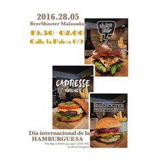 """Quien no disfruta de una buena hamburguesa?? Y si ademas la combinamos con buena cerveza artesanal se vuelve toda una experiencia!  Este 28 de Mayo celebremos el """"DIA INTERNACIONAL DE LA HAMBURGUESA""""  disfrutando de cualquiera de nuestras burgers calle la palma 69 Madrid. #beershooter #malasaña  #malasañamola  #condeduque  #condeduquegente  #madrid #madridmola #madridmemola #cervezaArtesana #craftbeermadrid #cervezaartesanamadrid #rinconesdemalasaña #ganasdemalasaña #madridtime…"""