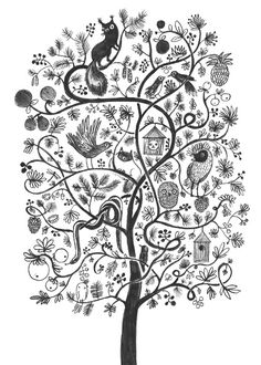 i want this painted on a wall Tree Illustration, Graphic Illustration, Zentangle, Doodle Patterns, Pattern Drawing, Art Journal Inspiration, Tree Art, Botanical Art, Art Techniques