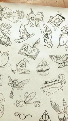 Harry potter tattoos - houses interior designs diy tattoo images - tattoo images drawings - tattoo i Harry Potter Sketch, Arte Do Harry Potter, Harry Potter Drawings, Small Harry Potter Tattoos, Harry Potter Tattoos Sleeve, Harry Potter Symbols, Hp Tattoo, Body Art Tattoos, Tatoos