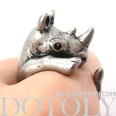 3D Rhinoceros Rhino Animal Hug Wrap Ring in Silver - Sizes 5 to 10 $12.50 #rhino