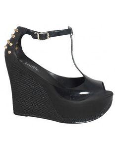 779f197db217 New Womens Ladies Patent Jelly Peeptoe Platform Buckle Wedges Heels Shoes  Size 3 4 5 6 7 8 UK