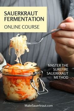 Master the Surefire Sauerkraut Method to fearlessly ferment sauerkraut, effortlessly add it to your meals, and easily supercharge your gut health. Includes videos, slide shows, text delivery, PDFs, step-by-step recipe card decks, and Zoom calls for additional support! #fermentedfoods Fermented Sauerkraut, Homemade Sauerkraut, Fermented Cabbage, Sauerkraut Recipes, Fermented Foods, Surefire, Recipes For Beginners, Gut Health, Recipe Cards