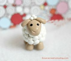 Cute Lamb Christmas Ornament  Polymer Clay by Emariecreations, $12.00