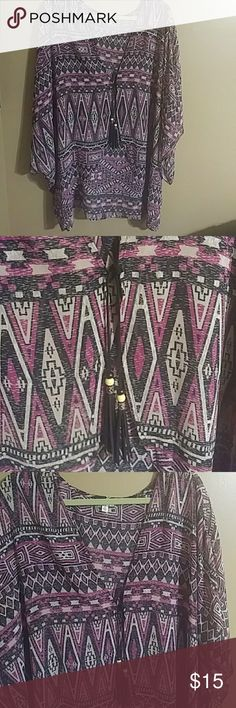 Kimono Fun Kimono with tribal print,tie front with cute tassels. Excellent used condition Eyeshadow Tops Blouses