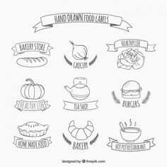 Hand drawn food stickers Free Vector