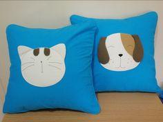Handmade Applique Soft Cotton Sofa Pillow Cases | whiskerssyndicate - Housewares on ArtFire