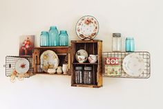 Vintage Crate and Wire Basket Shelves