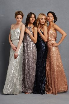 """Courtney"" V-neck bridesmaid dresses and ""Tiffany"" cutaway halter gown, all featuring sequins. Photography: Courtesy of Donna Morgan. Read More: http://www.insideweddings.com/news/fashion/glitzy-bridesmaid-dresses-your-girls-will-want-to-wear-again/1998/"