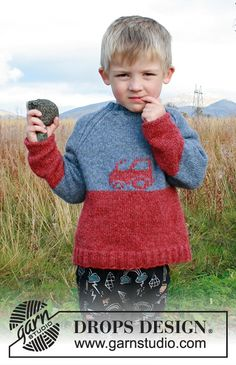 Tiny trucker / DROPS children - free knitting patterns by DROPS design Knitted pullover with tractor and raglan for children. The piece is worked in DROPS Sky. Drops Design, Knitting For Kids, Free Knitting, Baby Knitting, Sweater Knitting Patterns, Knit Patterns, Crochet Design, Knitting Gauge, Crochet Diagram