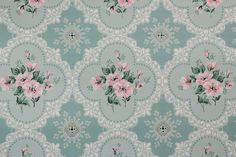 1940's Vintage Wallpaper Pink Floral on Aqua by RosiesWallpaper, $18.00