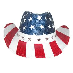 Display the 4th of July spirit all year long in this American flag print hat. The cowboy hat style has curved brim and elastic sweatband. Get outside and enjoy your USA western hat at parties, BBQ, parades or outside. Sized hat for the perfect fit.