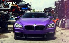Just hanging out in the backyard of a junk yard, new meets forgotten - This is what we call a BMW in Influence-Purple wrap #bmw-6-seires #bmw #650i #purplewrap #dipcars #wrappedcars #custompaintjob #custommods #carlove #carporn #lowlife #Influence-Purple #InfluencePurple #vossenwheels @Vossen