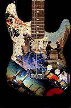 Pink Floyd strat if I was rich and played guitar I would buy this Guitar Art, Music Guitar, Cool Guitar, My Music, Guitar Painting, Guitar Pics, Pink Guitar, Richard Williams, Rock Music