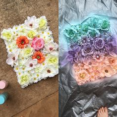 My latest craft  glue fake flowers on canvas & spray paint! Super fast & easy to do