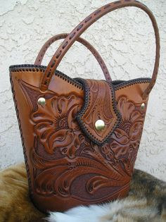 Tooled Leather Western handbag with lacing around the edge