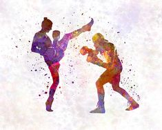 Boxers Painting - Woman Boxwe Boxing Man Kickboxing Silhouette Isolated 01 by Pablo Romero Muay Thai, Taekwondo Quotes, Kick Boxing Girl, Mma Boxing, Graphic Design Posters, Karate, Martial Arts, Canvas Prints, Silhouette