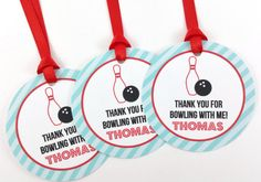 Bowling Party Favor Tags, Bowling Birthday Favor Tags, Bowling Tags, Bowling Party Decorations - SET OF 12 Bowling Party Favors, Bowling Party Invitations, Party Favor Tags, Happy Birthday Name, Teen Birthday, Birthday Board, Birthday Parties, Circle Crafts, Brochure Paper