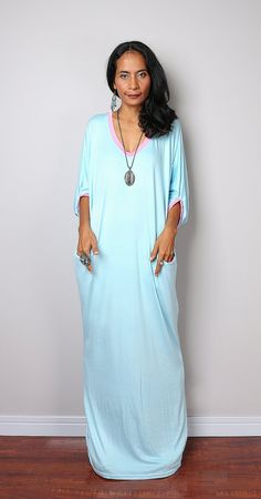 Light Blue Maxi Dress   Loose Fit 3/4 Sleeve Baby Blue by Nuichan