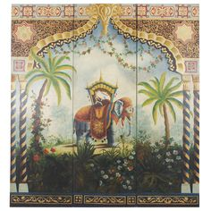 Elephant and Rider in Palm Trees with Elaborate Borders, Three-Part Wood Panels   From a unique collection of antique and modern decorative art at https://www.1stdibs.com/furniture/wall-decorations/decorative-art/