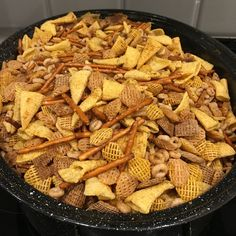 Mennonite Girls Can Cook: Nuts and Bolts with Bugles - Flashback Friday Chex Mix Recipe With Bugles, Bugles Recipe, Christmas Snacks, Xmas Food, Christmas Cooking, Christmas Goodies, Christmas Potluck, Christmas Stuff, Snack Mix Recipes