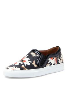 Floral-Print Slip-On Sneaker, Black by Givenchy at Neiman Marcus.