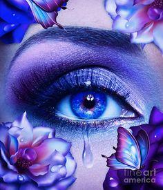 fantasy eye print Blue eyes art butterfly print roses art by EnchantedWhispersArt Beautiful Eyes Color, Pretty Eyes, Cool Eyes, Crying Eyes, Butterfly Eyes, Butterfly Print, Eyes Artwork, Aesthetic Eyes, Crazy Eyes