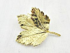 Vintage Gold Dipped Leaf Brooch Pin, AUSTRIA Brooch, Autumn Fall Leaf Brooch, 1970s Rustic Woodland Jewelry, Real Gold Maple Leaf Jewelry by RedGarnetVintage