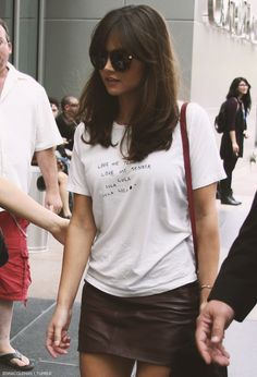 Jenna Coleman! Her hair always looks so good. And I love the simple tee and leather skirt combo