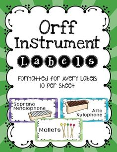 Orff Instruments Labels formatted for Avery Labels 10 per sheet Stickers