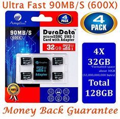 Amplim 32GB microSD Card Pack Plus Adapter (Class 10 Micro SD Extreme Pro UHS-I microSDHC Memory Reader). Ultra High Speed 4 32 gb SDHC UHS-1 TF Flash + Adaptor. 32g 90MB/s 600X hc class10 Performance