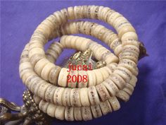Tibetan old antique Lama skull bone Ling kapala Necklace 108 prayer beads mala