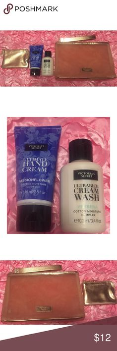 Victoria's Secret Travel Body Care Set New, Includes Travel Hand Cream in Passionflower, Cream Wash in Verbena, Gold Mesh Cosmetic Bag, Gold Coin Purse with Keychain Victoria's Secret Other