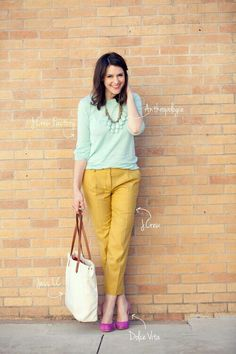 pretty color combo: mint, yellow and pink #outfits