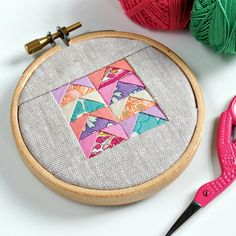 Mini patchwork flying geese hoop art inspired by 100 days of curated colour