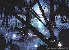Will-O-Wisps are flickering lights usually seen on marshy ground.  The common explanation is they are the product of a marsh gas, ignition trigged by phosphene.  This doesn't explain the strange movement of the lights