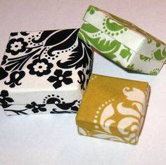 Set of 3 Nesting Origami Boxes in Black, Green and Maize Damask