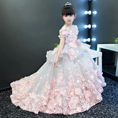 Girls Party Dresses Elegant 2017 Summer Short sleeve flower long tail princess girl dress children k