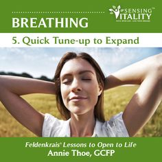 Quick and gentle Feldenkrais Lesson to improve chest expansion in sitting position, using hand on chest in various positions with rhythmic breathing and counting. Great for emotional balance, expanded breathing function and sports performance. (Single track versus whole album)