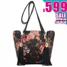 Joanna Shop 水桶包。復古花朵宮廷風拼色雙皮革流蘇裝飾斜背包