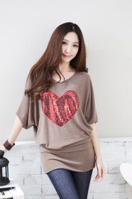 MY6035 Plus Size Batwing Sequins Heart Collage Temperament T-shirt Khaki [MY6035] - $15.75 : China,Korean,Japan Fashion clothing wholesale and Dropship online-Be the most beautiful Lady
