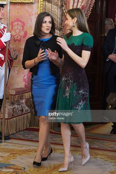 Queen Letizia of Spain (R) receive Costa Rica's President wife Mercedes Penas Domingo (L) for an official lunch at the Royal Palace on May 8, 2017 in Madrid, Spain.