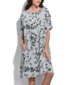 Loving this Gray Floral Stripe Linen Shift Dress - Plus Too on #zulily! #zulilyfinds