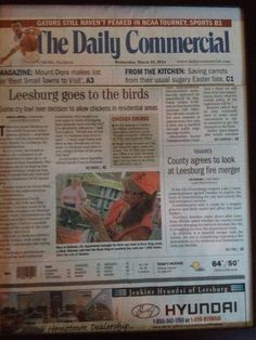 MJ made the paper of Leesburg on Chickens from Rural King