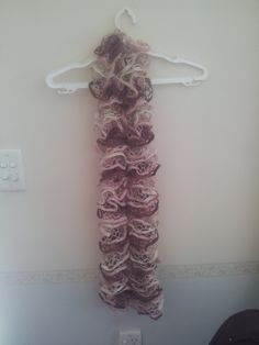 Dark Pink, Light Pink and Cream Ruffle Scarf - Lincraft Elicia Ruffle Yarn by HecklesHaunt on Etsy